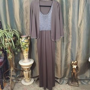 Vintage Brown and Metallic Silver Jacketed Formal